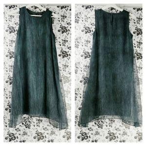 Eileen Fisher silk crinkle shift tank dress XS